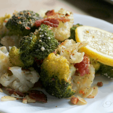 Roasted Broccoli and Cauliflower with Parmesan and Bacon