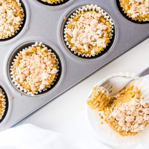 Pumpkin Pie Cupcakes with Crumble Topping from Wholesome Yum