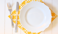 yellow and plate