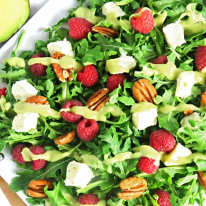 Raspberry Salad with Brie & Creamy Avocado Dressing