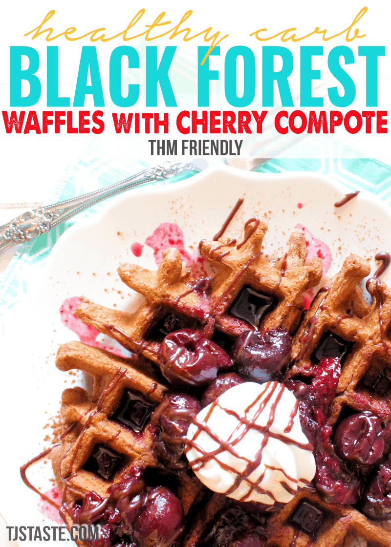 Healthy Carb Black Forest Waffles Featured with Cherry Compote