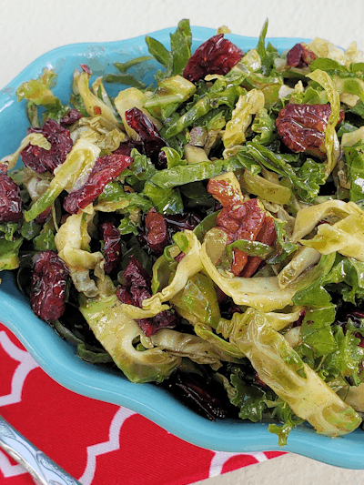 Low Carb Brussels Sprouts and Kale Slaw with Maple Vinaigrette (THM S • Keto)