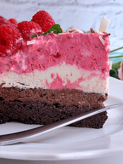 Chocolate Raspberry Mousse Cake with Brownie Bottom