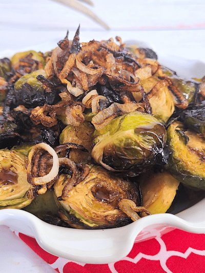Roasted Brussels Sprouts with Crispy Onions